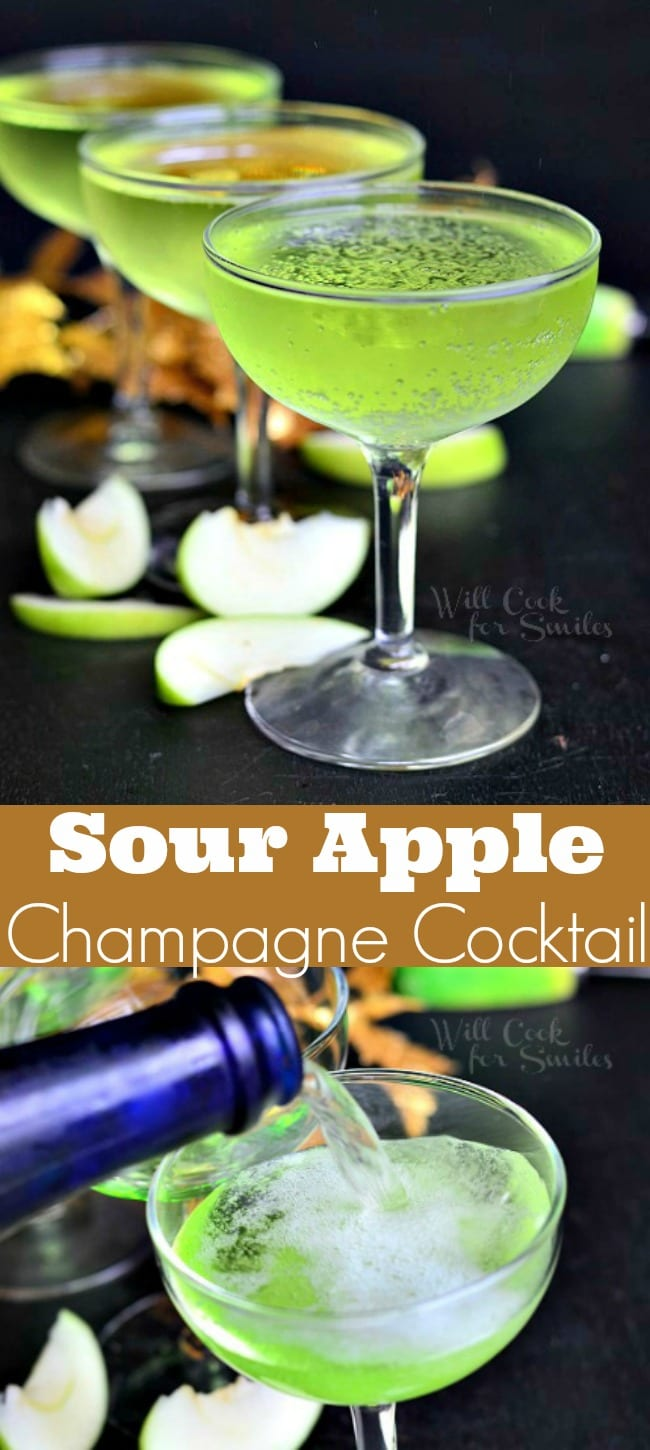 Sour Apple Champagne Cocktail. Gorgeous champagne cocktail made with flavors of a classic sour apple martini. Perfect cocktail for any party. #drink #cocktail #champagne #sourapple