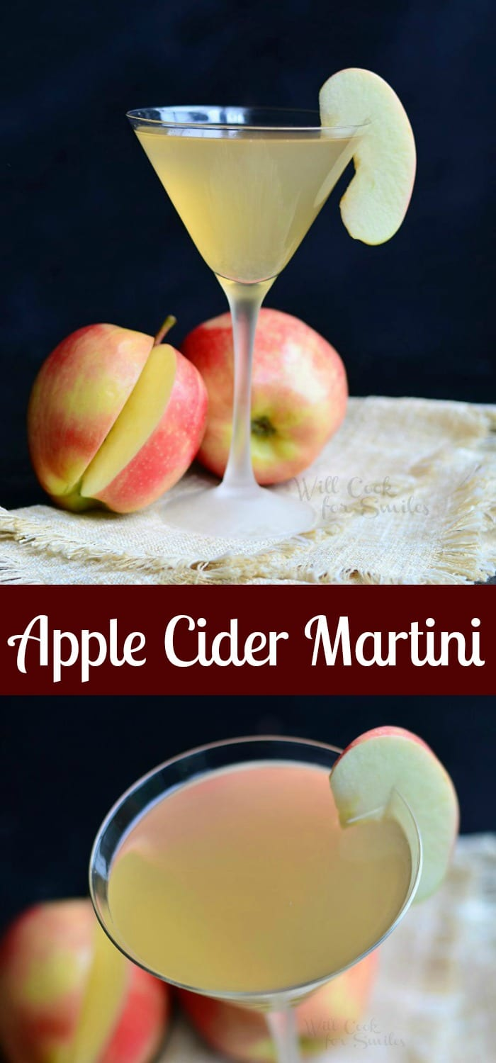 Apple Cider Martini is a wonderful seasonal cocktail that is light and crisp in flavor. It's made with apple flavored vodka, cinnamon liqueur and homemade apple cider. #apple #martini #cocktail #drink