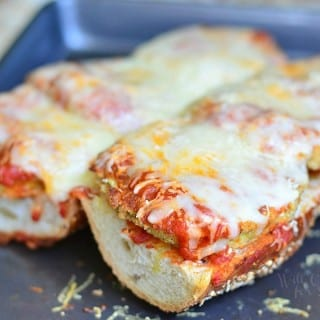 Open Faced Baked Eggplant Parmesan Sub