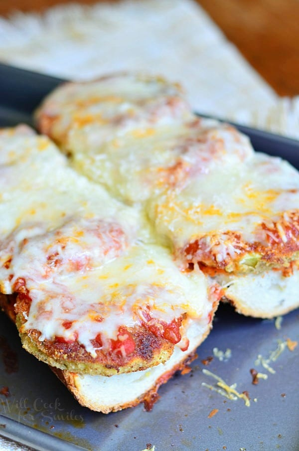 Open Faced Baked Eggplant Parmesan Sub from willcookforsmiles.com