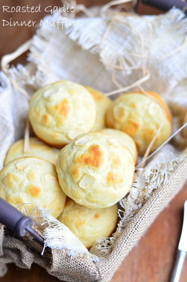 Roasted Garlic Dinner Muffins | from willcookforsmiles.com