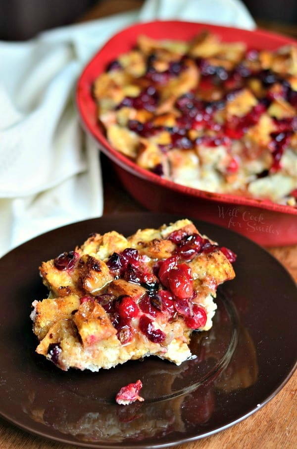 Cranberry Bread Pudding with Honey Whiskey Maple Sauce - Will Cook For ...