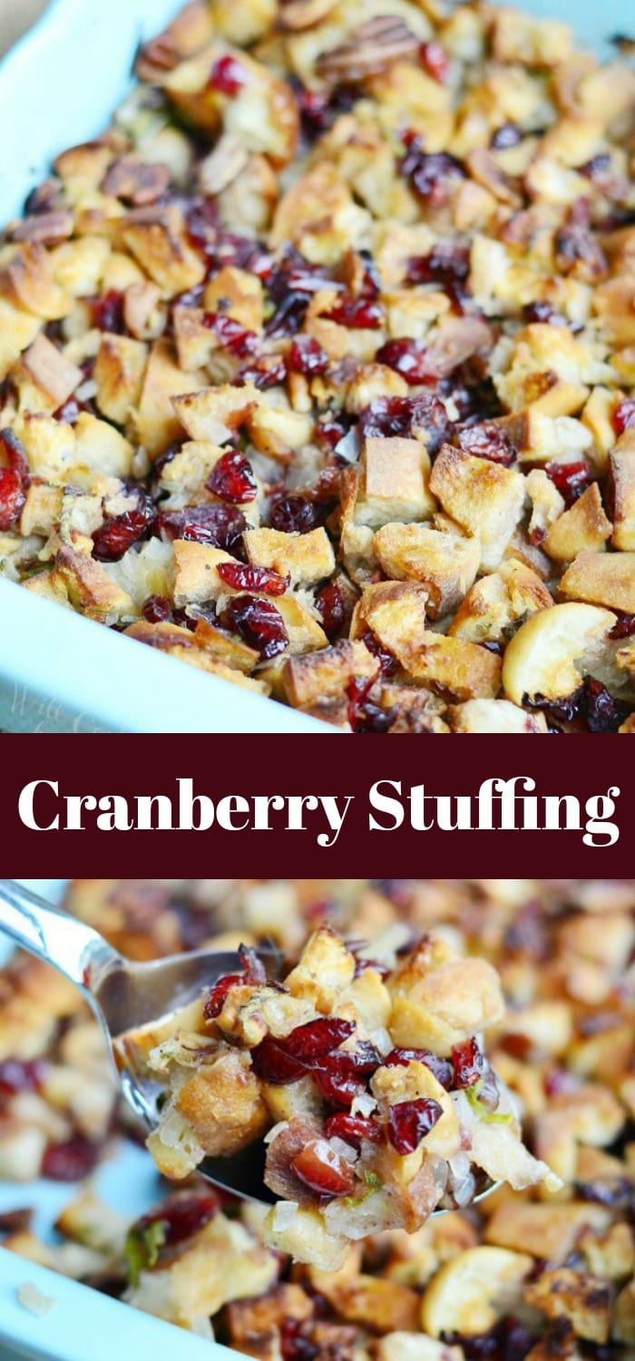 Cranberry Stuffing with Pecans in a casserole dish with a spoon lifting some out