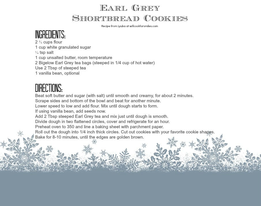 Earl Grey Tea Shortbread Cookies recipe card from willcookforsmiles.com