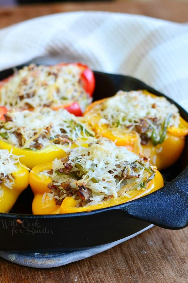 Sausage & Onion Stuffed Peppers 1 from willcookforsmiles.com