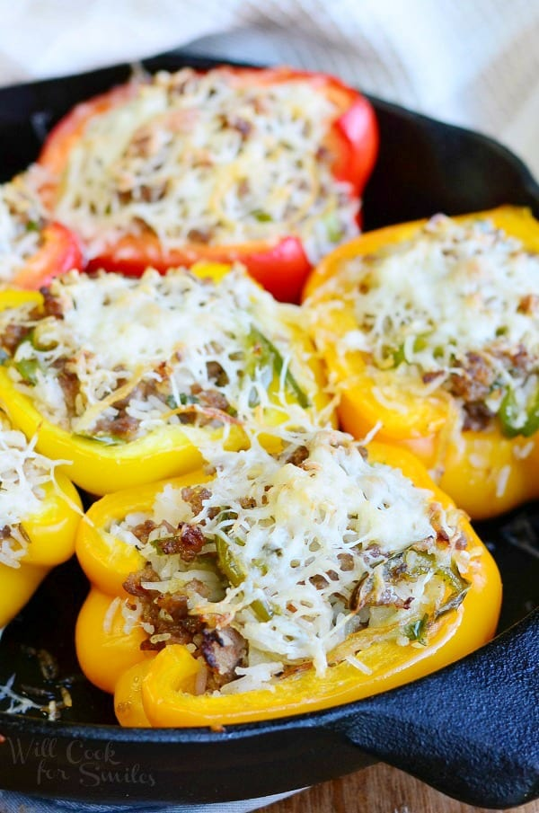 Sausage & Onion Stuffed Peppers 2 from willcookforsmiles.com