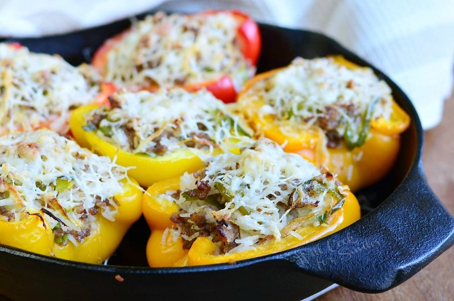 Sausage & Onion Stuffed Peppers 4 from willcookforsmiles.com