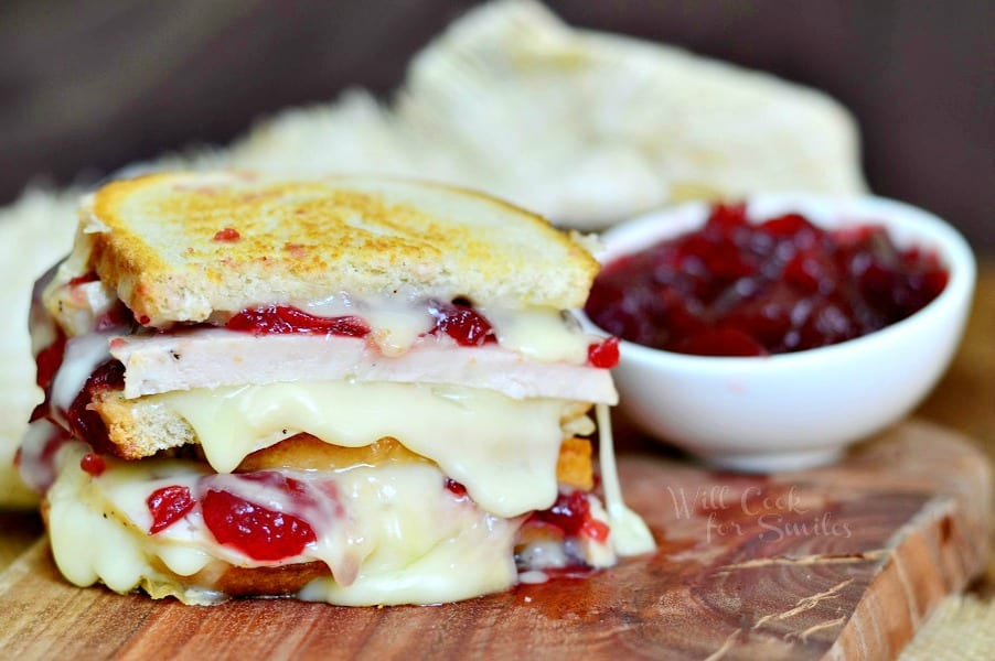 Turkey Cranberry Brie Grilled Cheese 2 from willcookforsmiles.com
