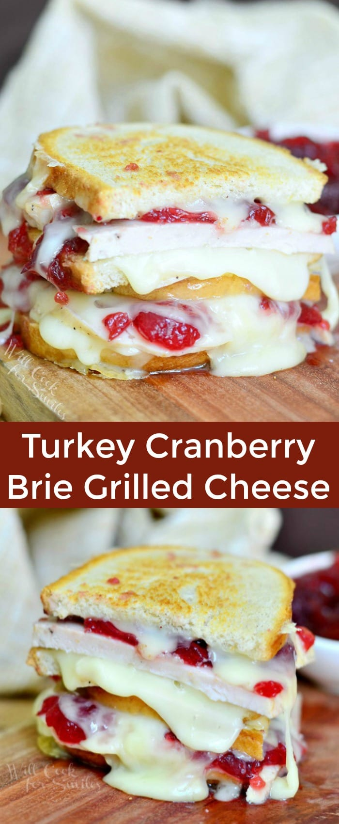 Turkey Cranberry Brie Grilled Cheese. Amazing recipe to use up those Thanksgiving leftovers after the holiday dinner. Gooey grilled cheese recipe made with turkey breast, smooth melted brie cheese and cranberry sauce. #turkey #grilledcheese #sandwich #leftovers #brie