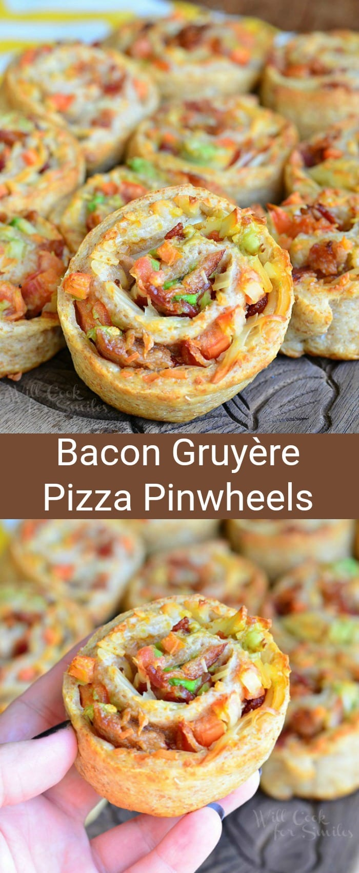 Bacon Gruyere Pizza Pinwheels. Great warm appetizer made with whole grain pizza dough, crispy bacon, Gruyere cheese, tomato and avocado. #appetizer #snack #pinwheels #pizza #bacon #partyfood