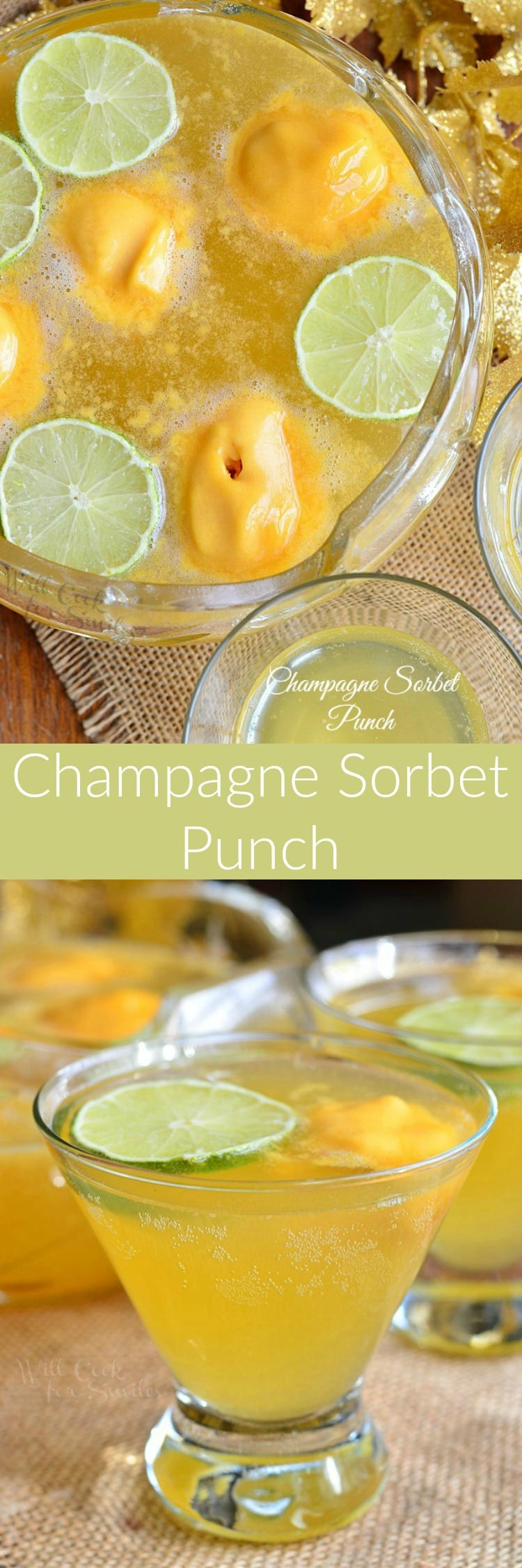 Champagne Sorbet Punch.  Amazing Champagne Punch made with addition of sorbet, simple syrup and flavored vodka. Very simple party cocktail that will bring a festive touch to any table.