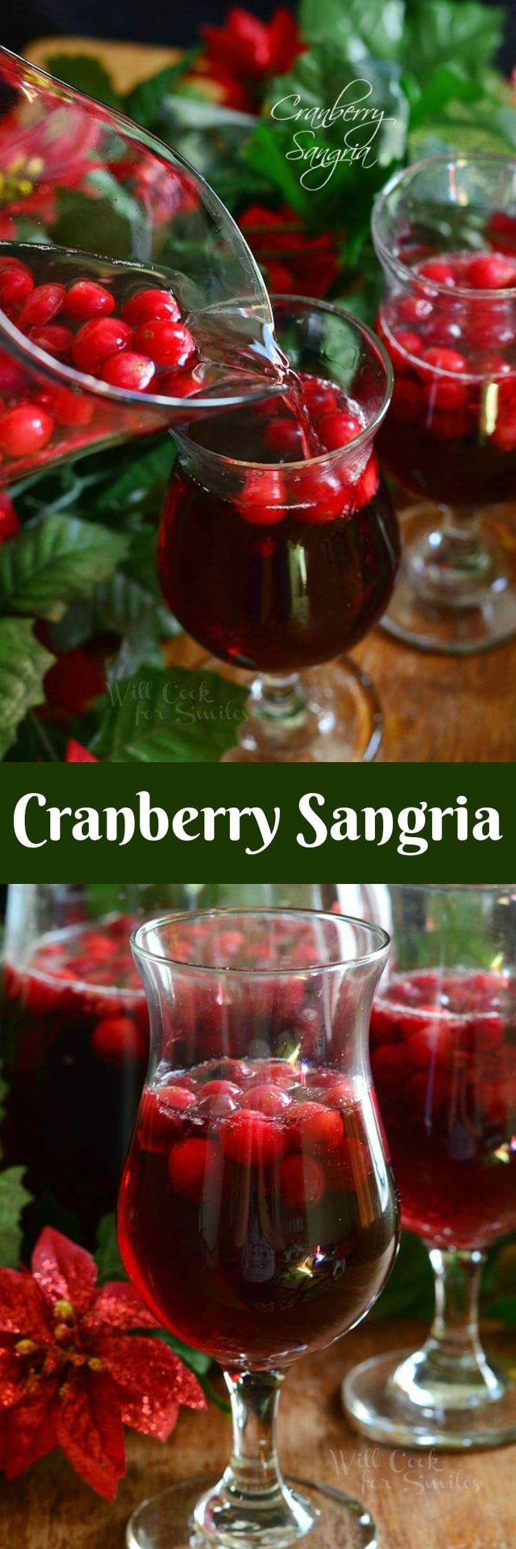 Cranberry Sangria is perfect for this holiday season. Delicious seasonal cocktail made with fresh cranberries, cranberry flavored vodka, juice and red wine. #sangria #cranberry #holidaydrink #cocktail