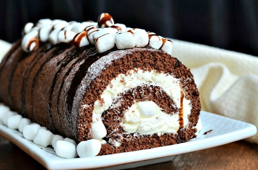 Hot Chocolate Cake Roll  on a serving platter