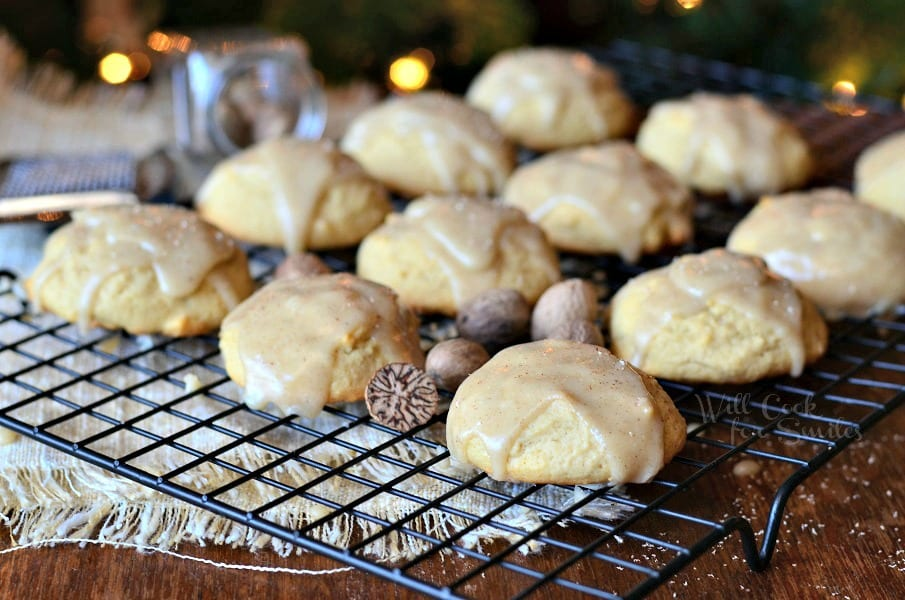 Eggnog Cookies with Eggnog Glaze. Soft little cookies made with eggnog and nutmeg and topped with an easy, sweet eggnog glaze. #cookies #eggnog #dessert