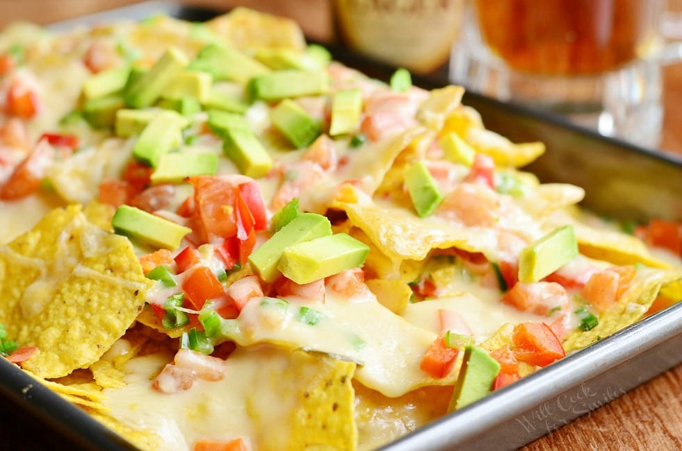 Amazing Nachos with Veggies and Homemade Nacho Ale Cheese Sauce.  | from willcookforsmiles.com