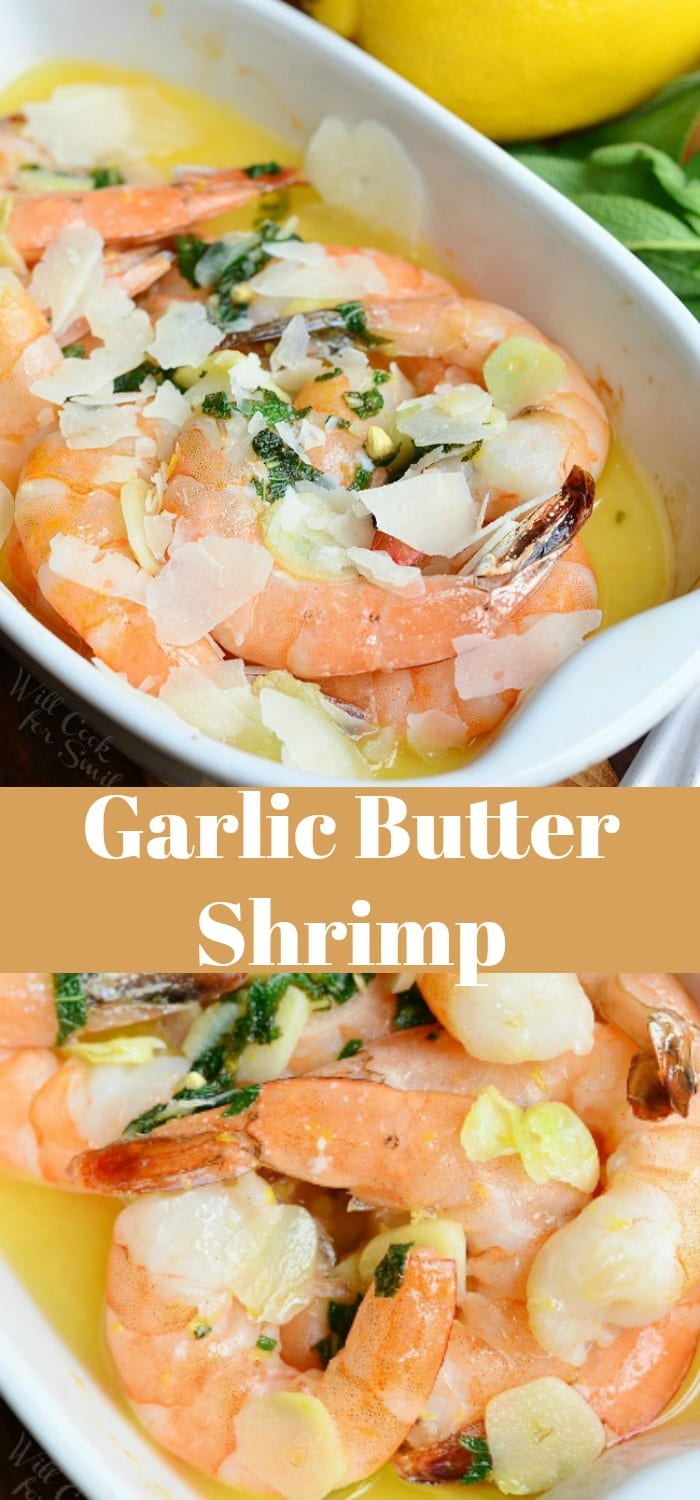 Garlic Butter Shrimp. Juicy jumbo shrimp baked with garlic, lemon zest, fresh sage and butter. #shrimp #seafood #dinner