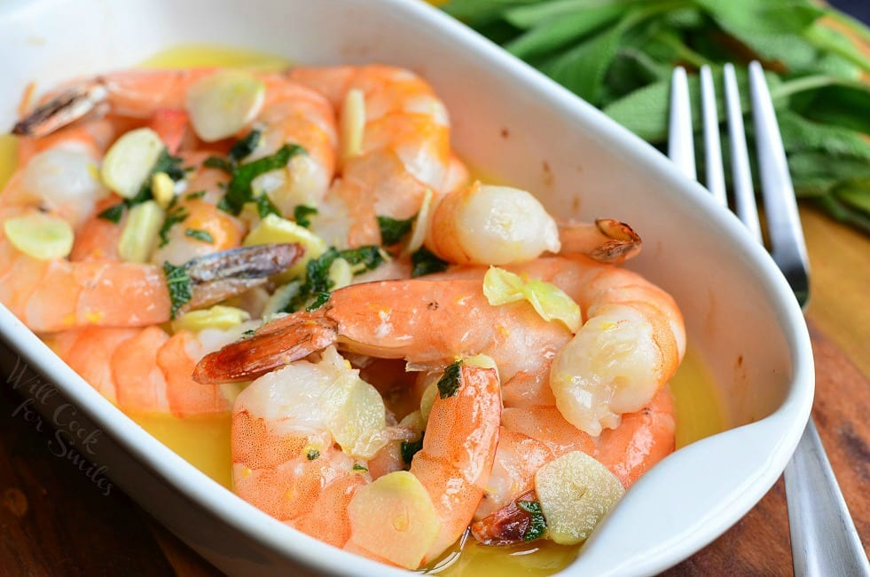 Baked Shrimp. Juicy jumbo shrimp baked with garlic, lemon zest, fresh sage and butter. #shrimp #seafood #dinner