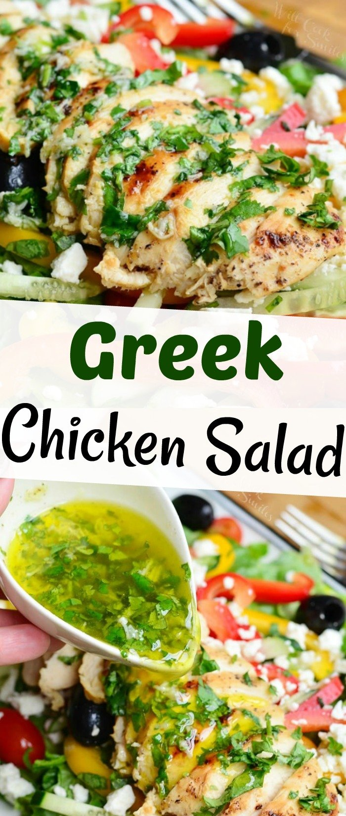 collage of two images: closeup of chicken on top of salad covered with herb dressing and pouring lemon herb dressing over the salad