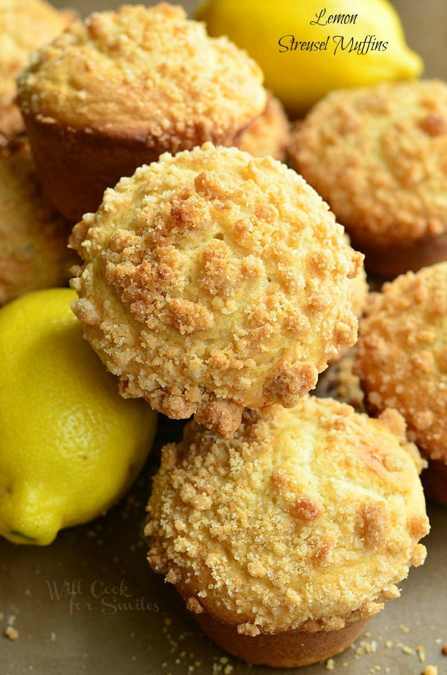 Lemon Streusel Muffins stacked up with lemons