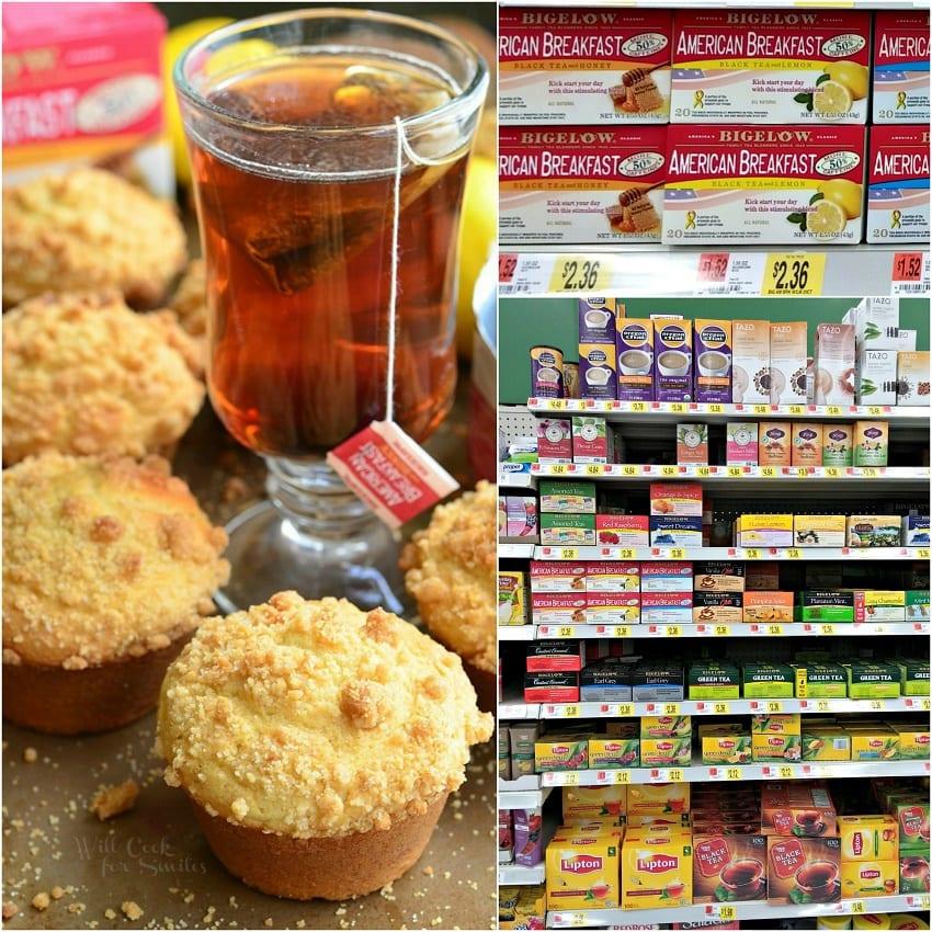 Lemon Streusel Muffins with Bigelow American Breakfast Tea