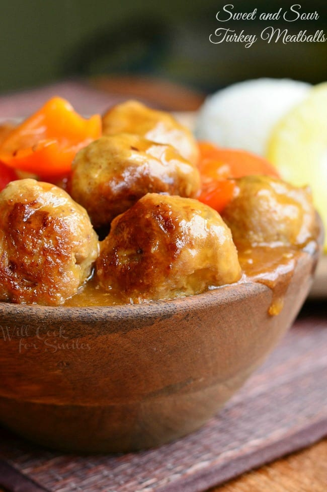 Sweet and Sour Turkey Meatballs 3 from willcookforsmiles.com