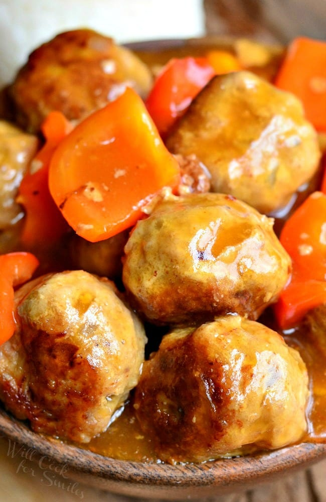 Sweet and Sour Turkey Meatballs from willcookforsmiles.com