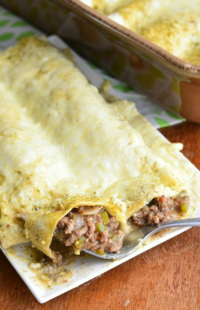 Beef Enchiladas Verde 4 from willcookforsmiles.com