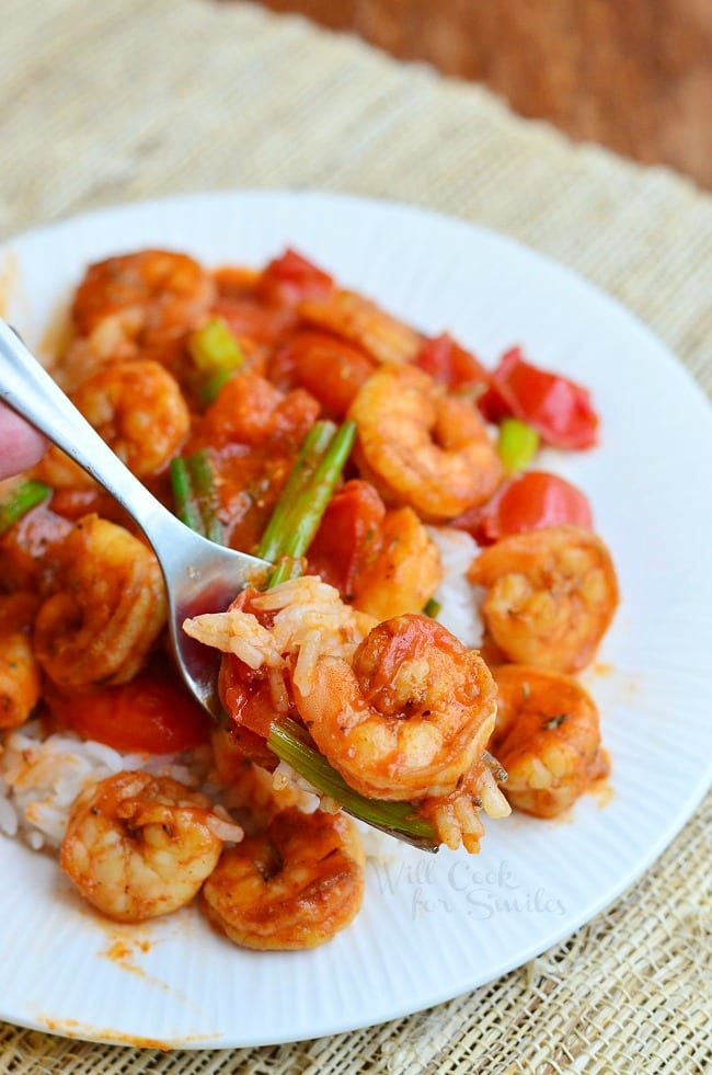 Cajun Shrimp over Rice on a plate with green onions on top with some on a fork
