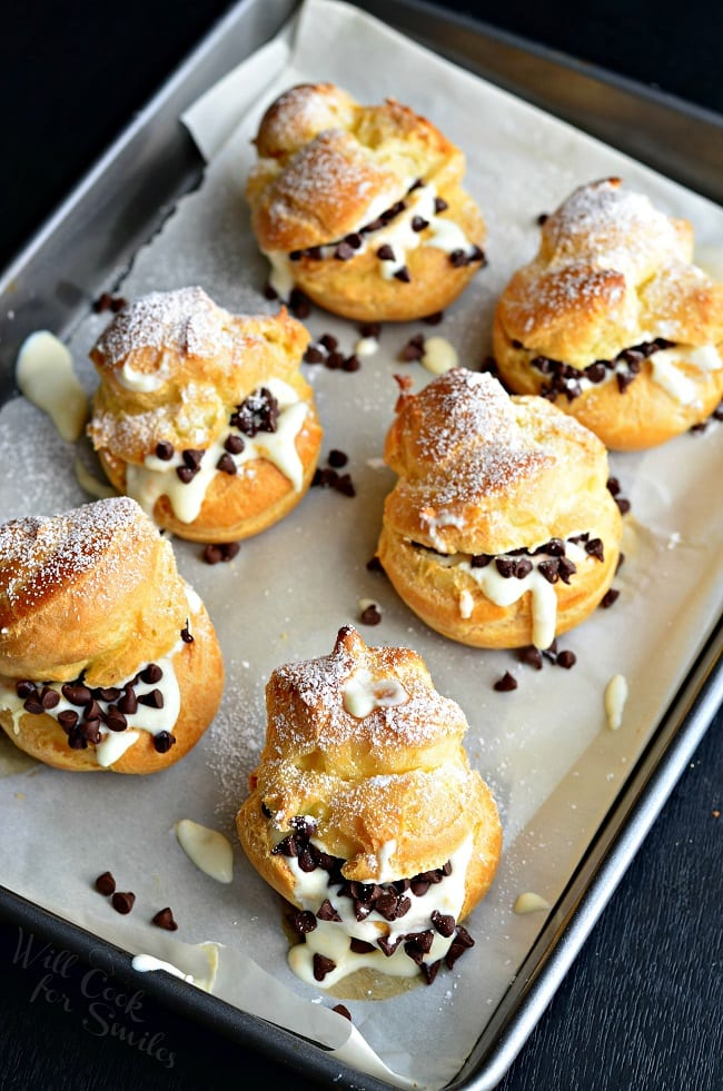 Cannoli Cream Filled Choux Pastry Cream Puffs Will