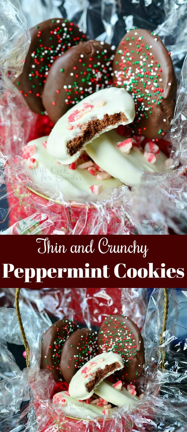 Chocolate Dipped Crunchy Peppermint Cookies.  Crunchy, chocolate peppermint cookies dipped in milk or white chocolate and topped with sprinkles or peppermint crunch. #cookies #holiday #chocolate #thinmints #peppermint
