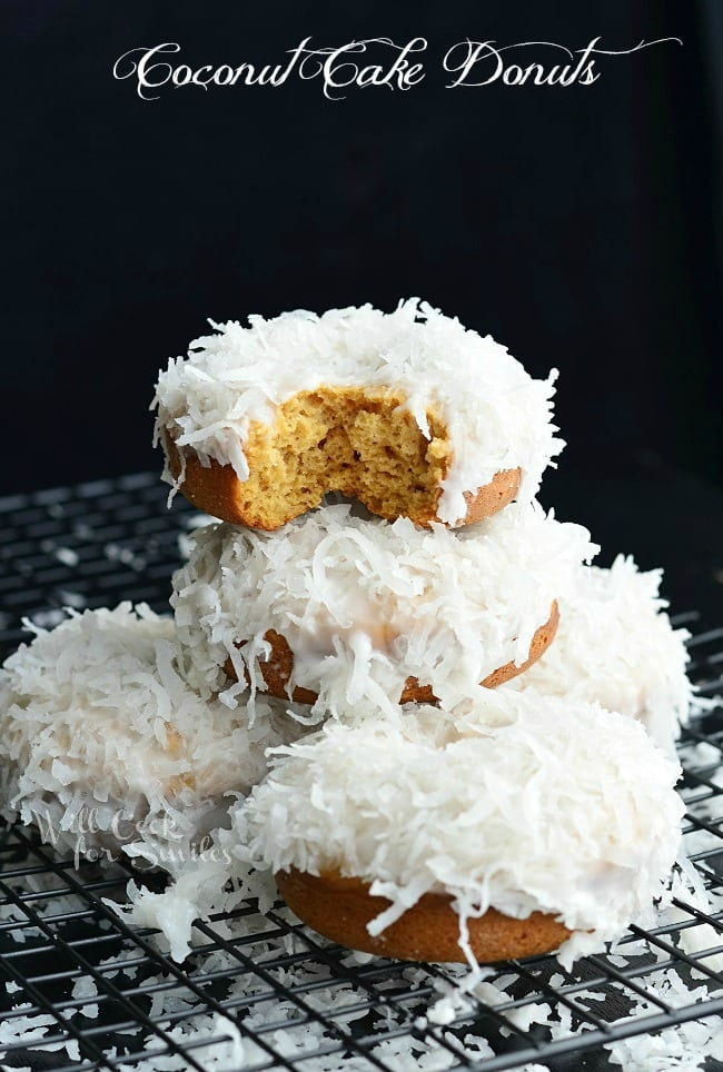Baked Coconut Donuts that are infused in coconut flavors inside and out.
