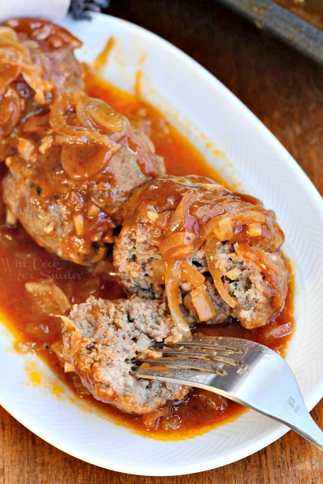 French Onion Baked Meatballs 3 from willcookforsmiles.com