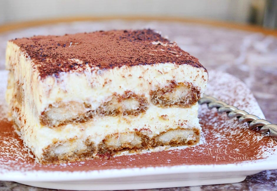 Classic Tiramisu. Tiramisu is a classic Italian dessert made with layers of espresso dipped Ladyfingers cookies, smooth mascarpone cream with a hint of Amaretto and dusted with cocoa powder. #tiramisu #dessert #italian #cream #nobake