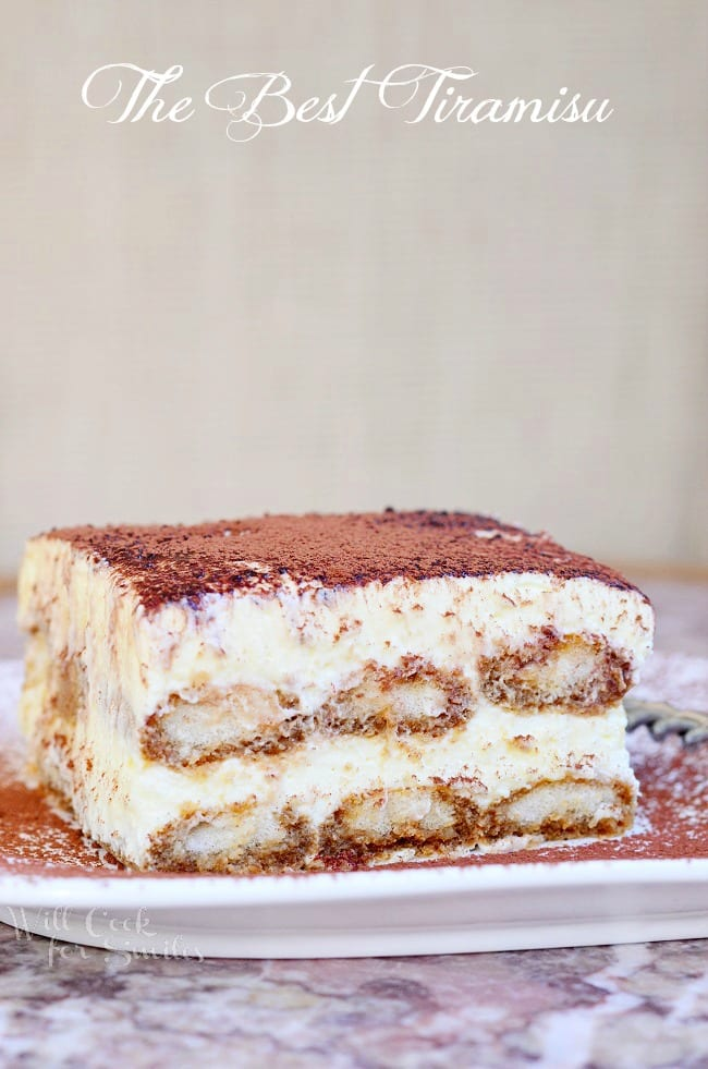 The Best Tiramisu Recipe. Tiramisu is made with layers of espresso dipped Ladyfingers cookies, smooth mascarpone cream with a hint of Amaretto and dusted with cocoa powder. #tiramisu #dessert #italian #cream #nobake