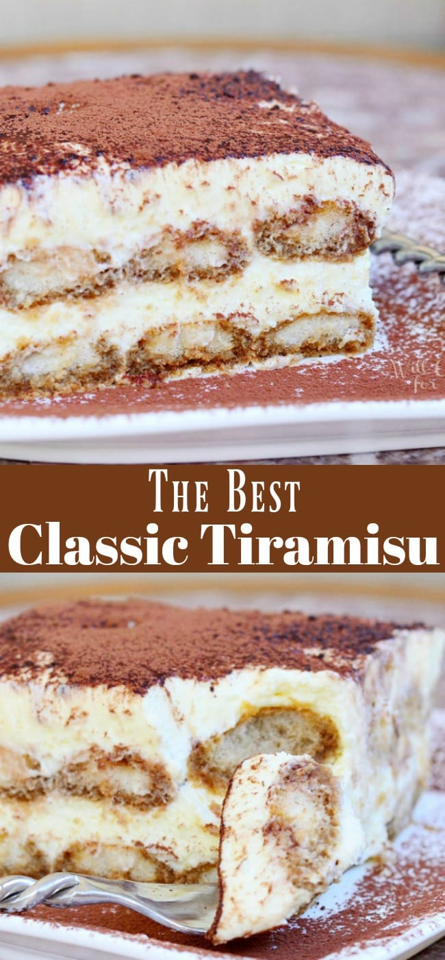 Tiramisu Recipe. Tiramisu is made with layers of espresso dipped Ladyfingers cookies, smooth mascarpone cream with a hint of Amaretto and dusted with cocoa powder. #tiramisu #dessert #italian #cream #nobake
