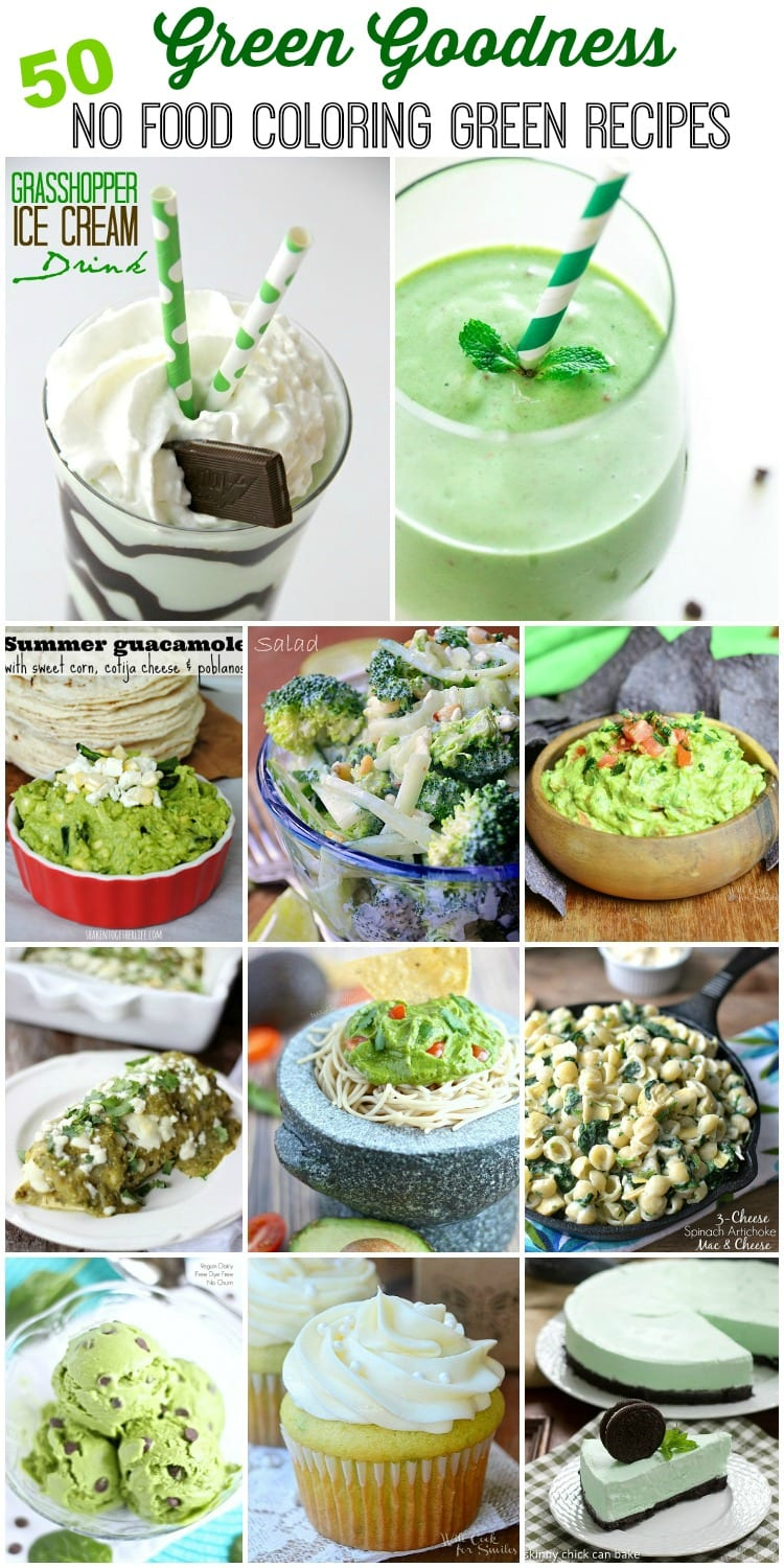 Green Goodness Collection {50 No Food Coloring Green Recipes}. This is a collection of mouthwatering green recipes including smoothies, milkshakes, appetizers, main dishes and desserts. All green, all delicious and no food coloring!  on willcookforsmiles.com