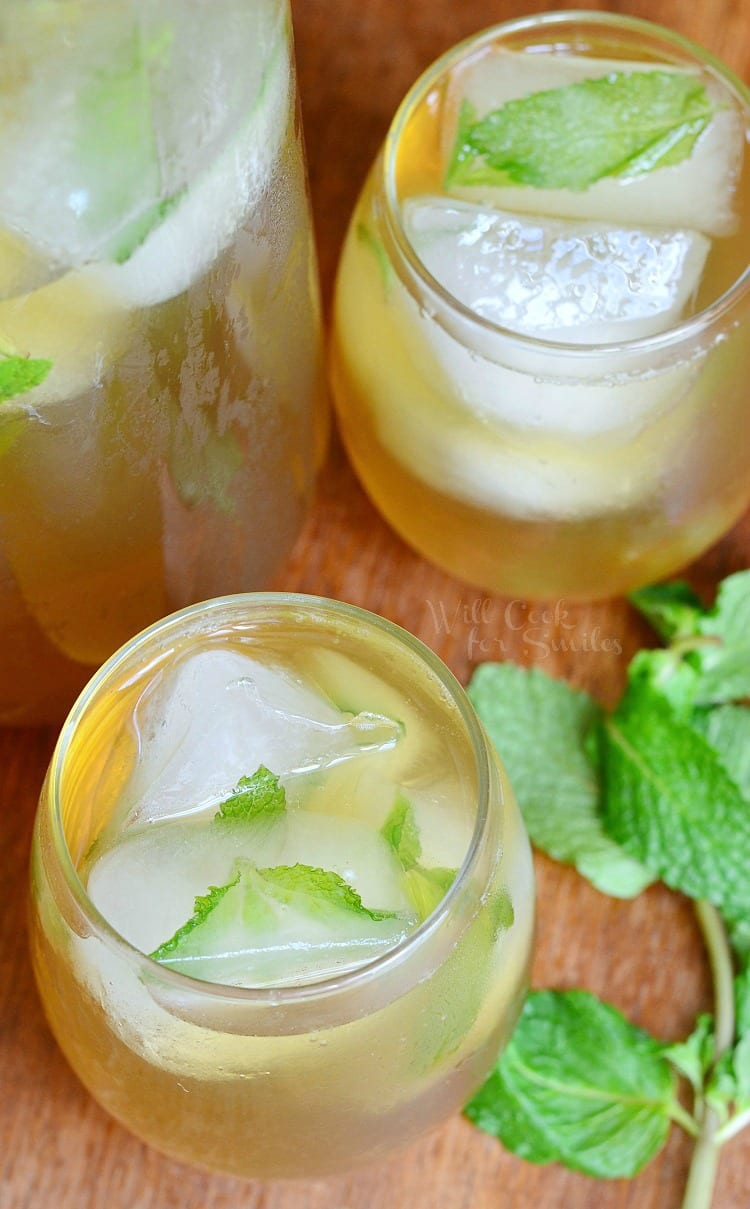 top view of Honey Mint Green Iced Tea in a glass with mint leaves on top