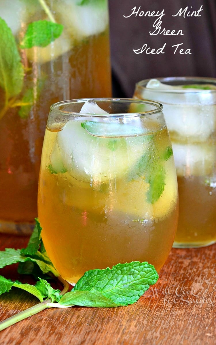 Honey Mint Green Iced Tea in a glass with ice and mint