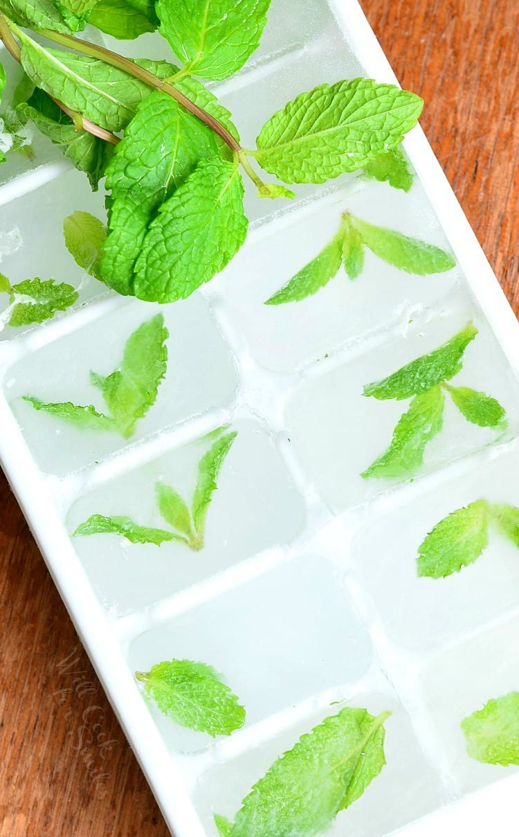 Honey Mint Green Iced Tea Mint Ice Cubes in an ice cube tray