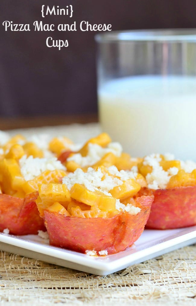 Mini Pizza Macaroni and Cheese Cups. Fun and easy meal idea that can easily be made into a snack or dinner.  | from willcookforsmiles.com