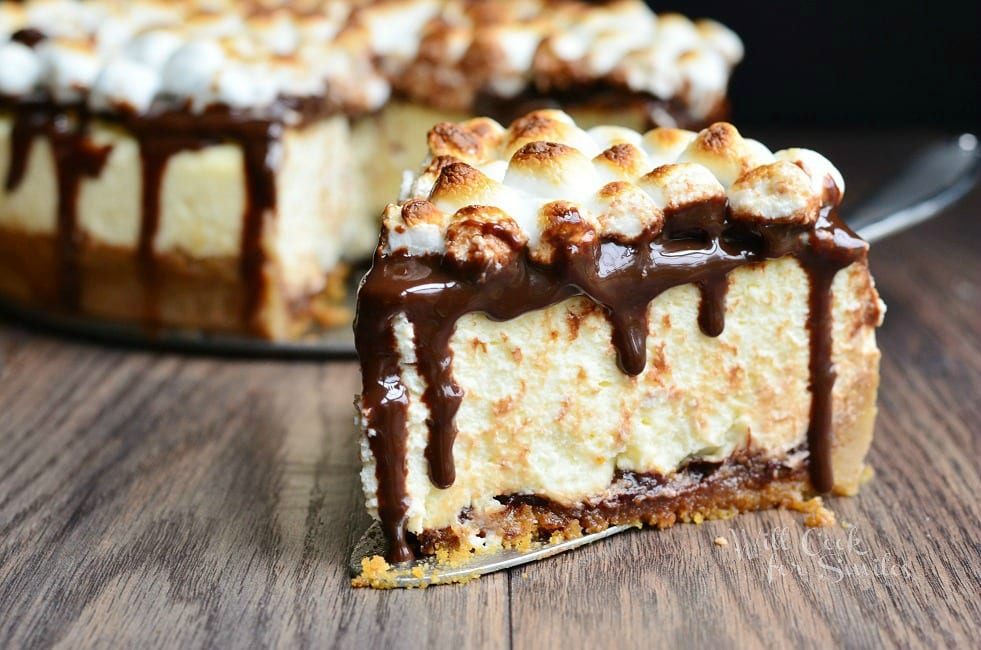 S'Mores Cheesecake Recipe 5 from willcookforsmiles.com