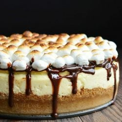 Smores cheesecake on a wooden table