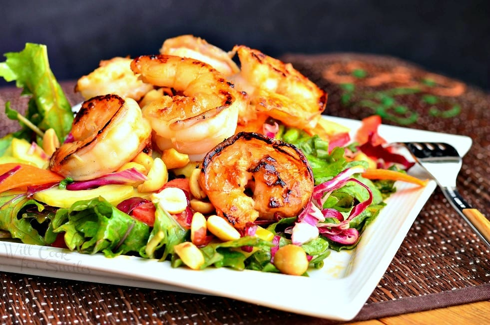 Thai Shrimp Salad with Peanut Dressing | from willcookforsmiles.com