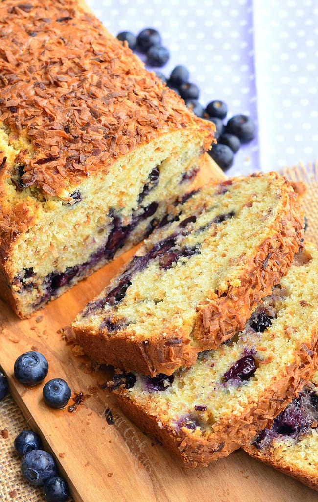 Toasted Coconut Blueberry Bread. Coconut and blueberry together in one scrumptious sweet bread. This soft and moist bread is so simple and delicious, packed with blueberries and toasted coconut. | from willcookforsmiles.com