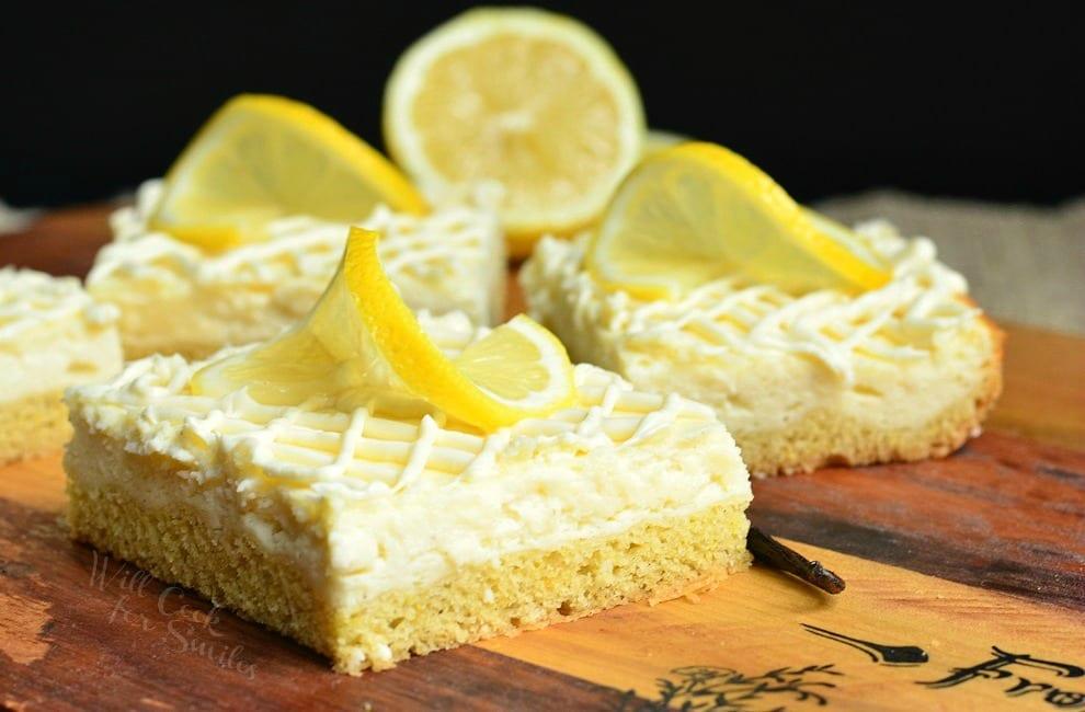 Vanilla Bean Lemon Cheesecake Bars from willcookforsmiles.com