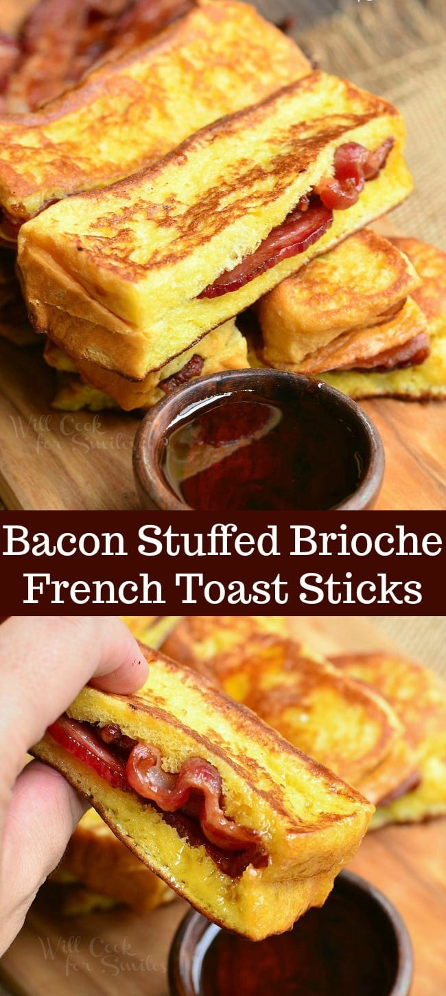 long collage of two photos of stacked french toast sticks on top and holding a one on the bottom