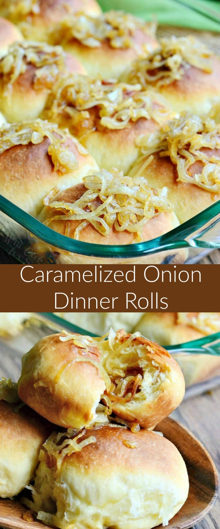 Caramelized Onion Dinner Rolls. Soft and comforting homemade dinner rolls. These scrumptious rolls are made out of easy yeast dough and filled with delicious caramelized onions. #bread #dinnerrolls #rolls #yeastdough #onion #caramelizedonion #sidedish