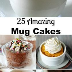 5 picture collage of amazing mug cakes
