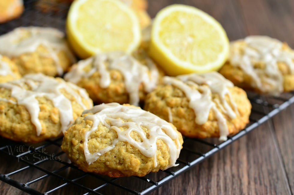 Recipes - Soft Oatmeal Cookies with Lemon Vanilla Glaze from willcookforsmiles.com