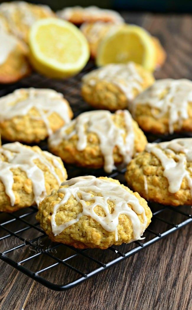 Glazed Lemon Vanilla Oatmeal Cookies from willcookforsmiles.com